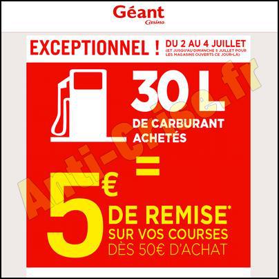 30 L de Carburant Achetés = 5 € de réduction sur vos courses