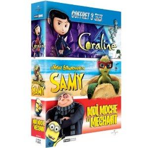 Coffret Blu-ray 3D Animation - Moi, moche et méchant + Le voyage extraordinaire de Samy + Coraline