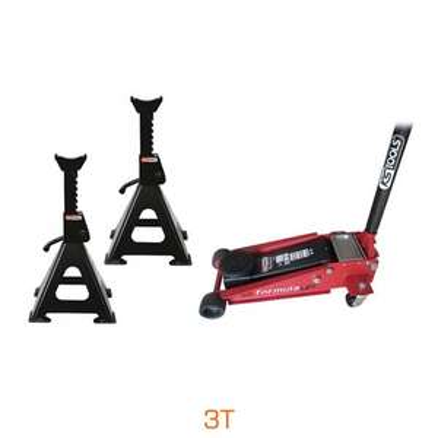 Lot cric hydraulique acier Formula 3T + Paire de chandelles 3T KS Tools