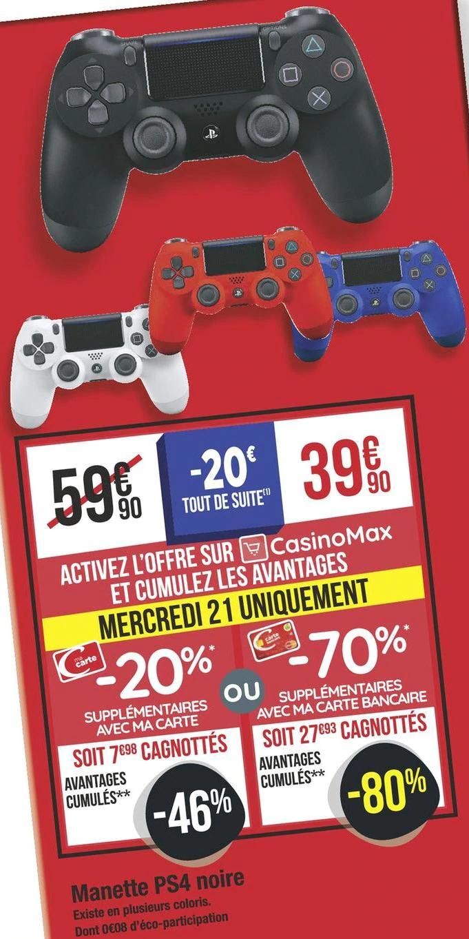 [Carte Bancaire Casino / Casino Max]  Manette Sony Dualshock 4 pour PS4 (via 27.90 sur la carte fidélité)