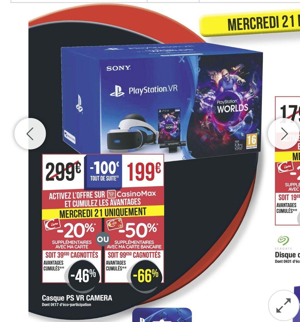 [Carte Bancaire Casino / Casino Max] Casque Playstation VR + Caméra + VR Worlds sur PS4 (Via 99,5€ sur la Carte de FIdélité)
