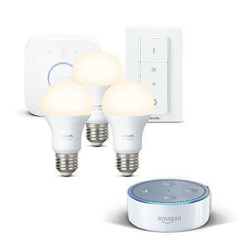 Sélection de Kit Amazon Echo Dot + Kit de démarrage Philips - Ex: Amazon Echo Dot 2ème génération + Kit de démarrage Philips Hue White
