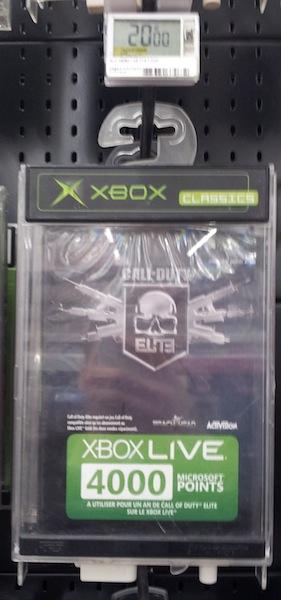 Xbox Live 4000 Microsoft Points Call of Duty Elite Premium