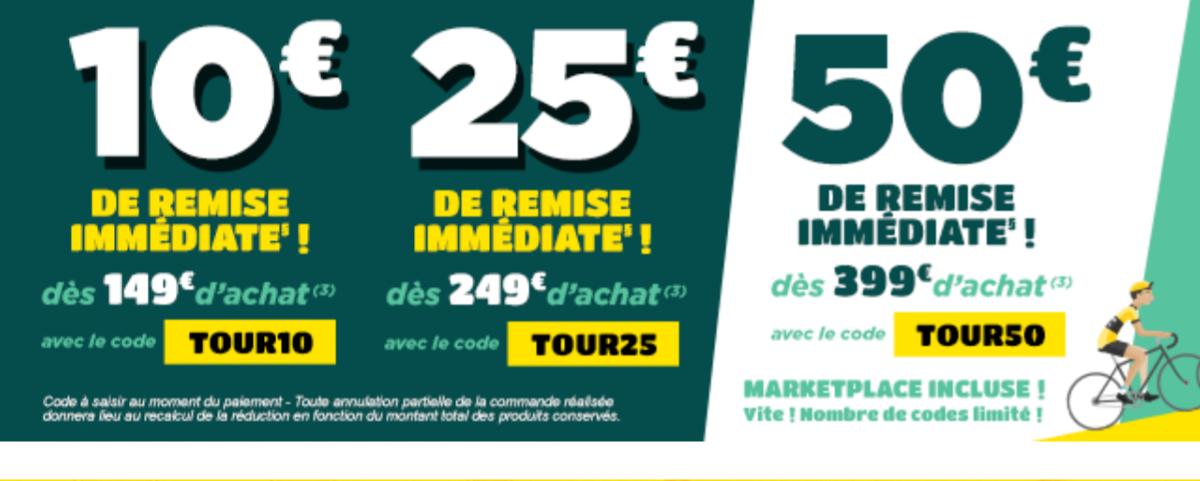 50€ de remise immédiate dès 399€ d'achat via site mobile et applications