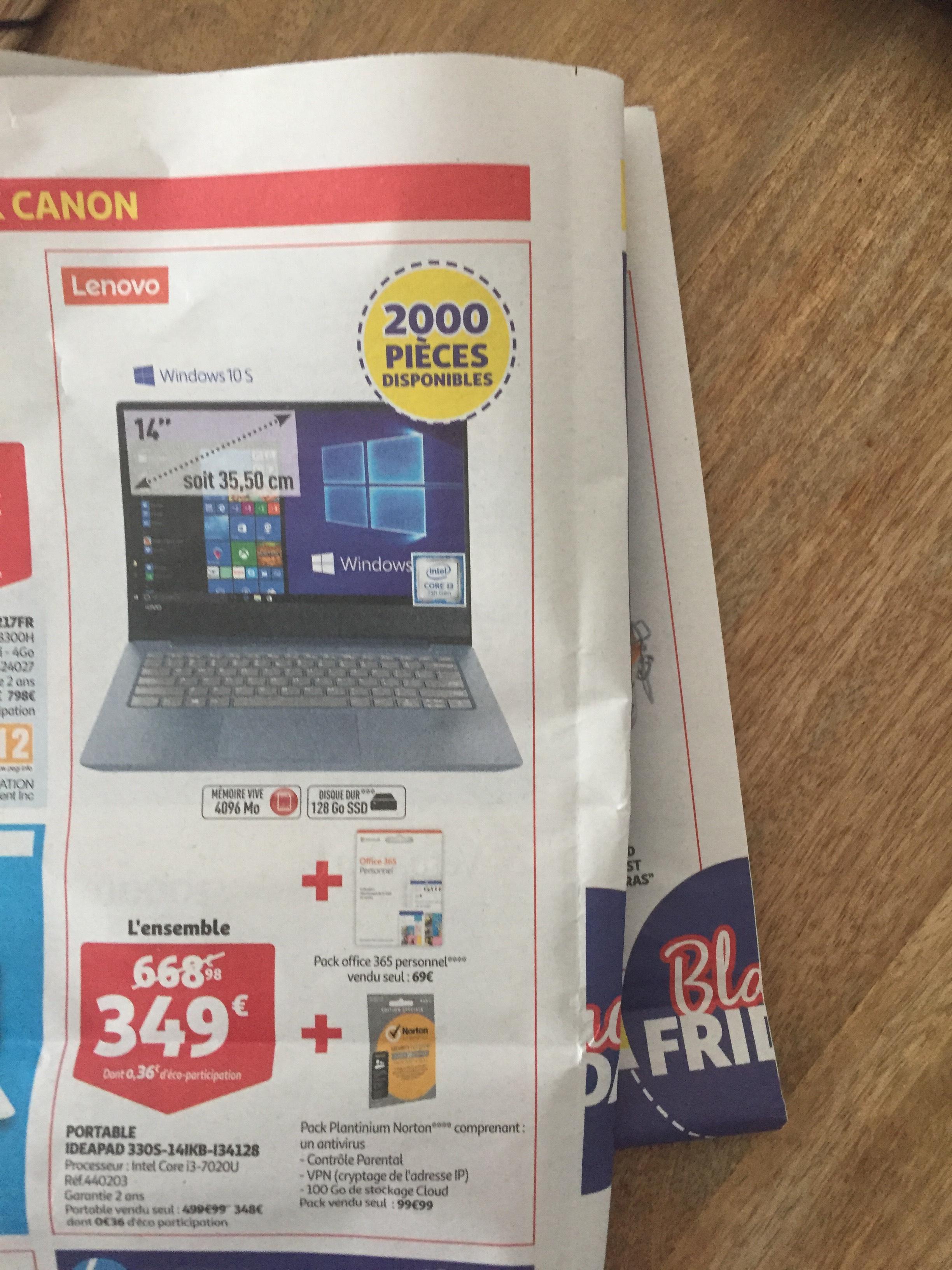 "PC portable 14"" Lenovo IdeaPad 330S-14IKB-I34128 (i3-7020U, 4 Go de RAM, 128 Go en SSD) + un an à Office 365 + antivirus Norton Platinium"