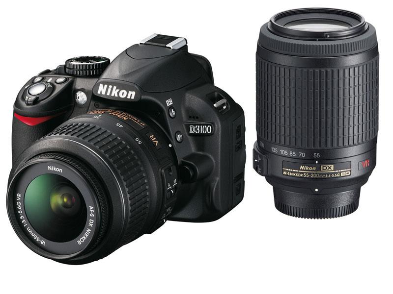 Appareil photo Reflex Nikon D3100 + Objectif 18-55mn + Objectif 55-200mn