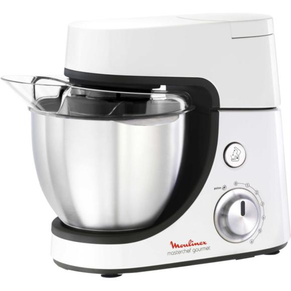 Robot pâtissier Moulinex MasterChef Gourmet QA5001B1- Blanc, 4,6 L, 900 W, 6 vitesses + pulse