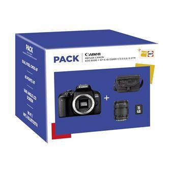 Appareil Photo Numérique Reflex Canon EOS 800D + Objectif EF-S 18-135 mm f/3.5-5.6 IS STM + Fourre-tout + Carte SD 16 Go
