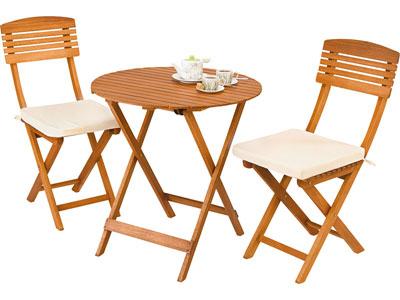 Set 1 table + 2 chaises en eucalyptus massif