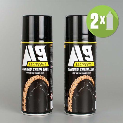Pack de 2 Lubrifiants pour chaîne moto route A9 - 2 x 400 ml