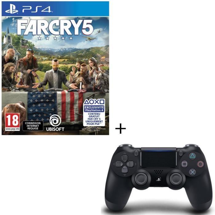 Far Cry 5 sur PS4 + Manette PS4 DualShock 4 Noir (V2)
