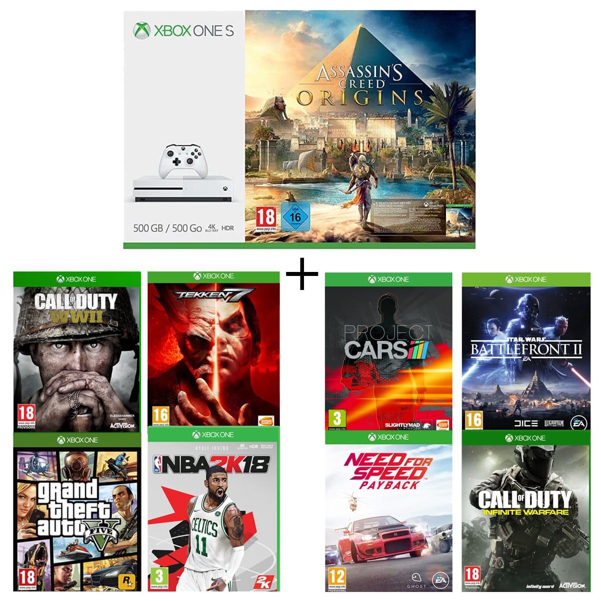 Console Microsoft Xbox One S  500 Go avec Assassin's Creed Origins + 8 Jeux