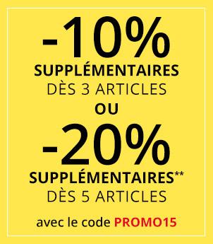 10% réduction supplémentaire dès 3 articles achetés ou 20% dès 5 articles achetés