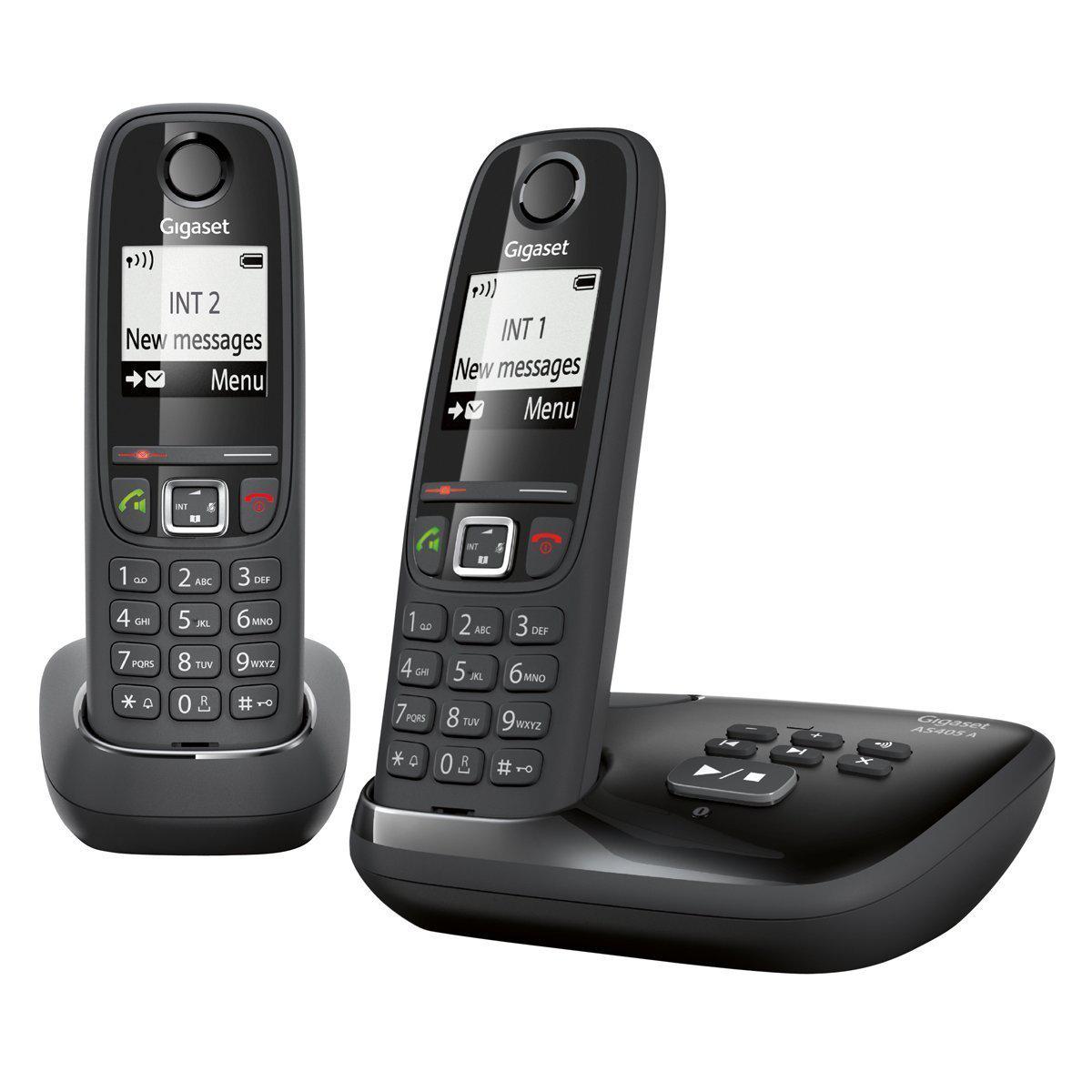 Téléphone fixe DECT/GAP Gigaset AS405A Duo L36852-H2521-N101 (ODR 10€)