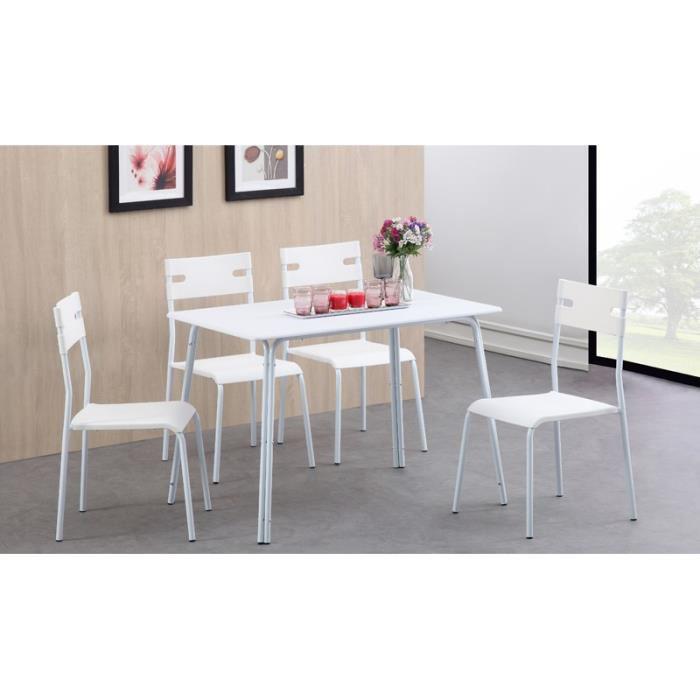Ensemble repas Aaron 5 pièces 1 table + 4 chaises - Blanc