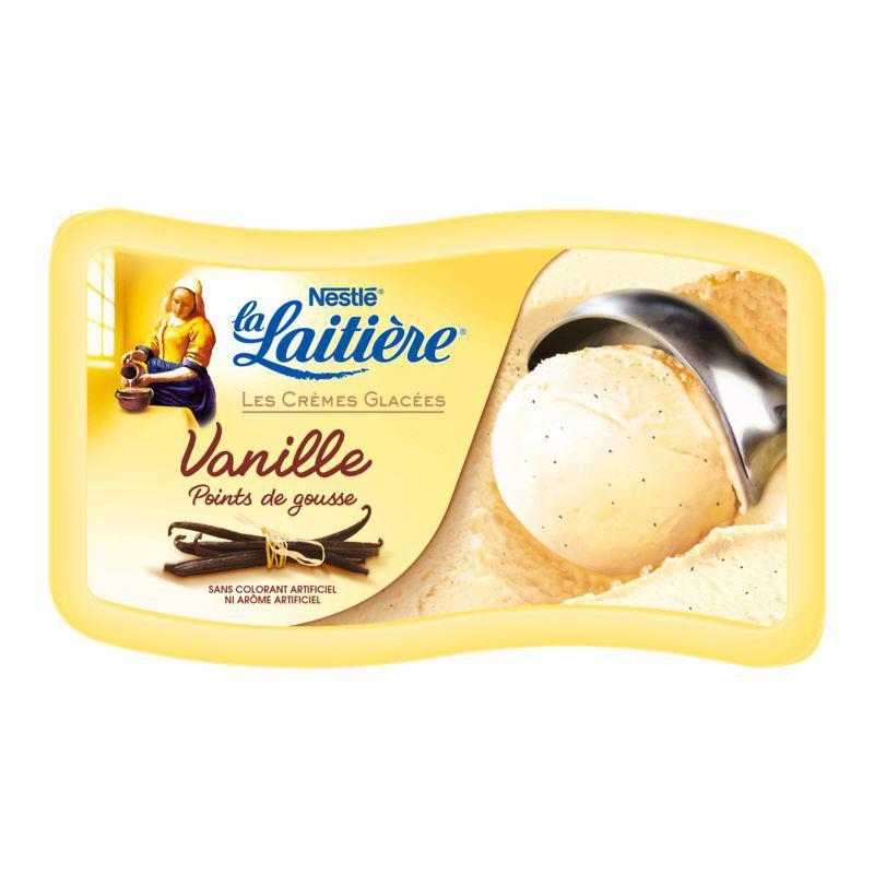 Bac de glaces Vanille La Laitière 850g (40% immédiat + 1€ bdr)