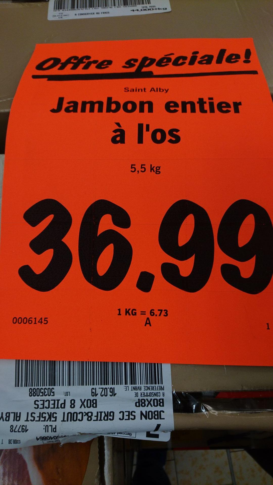 Jambon entier à l'os Saint Alby - 5.5Kg