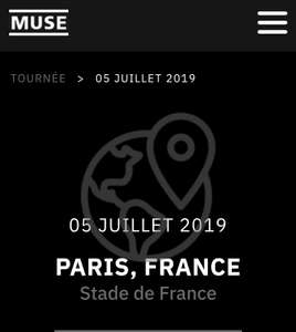 billet concert muse du 5 juillet 2019 stade de france 93. Black Bedroom Furniture Sets. Home Design Ideas