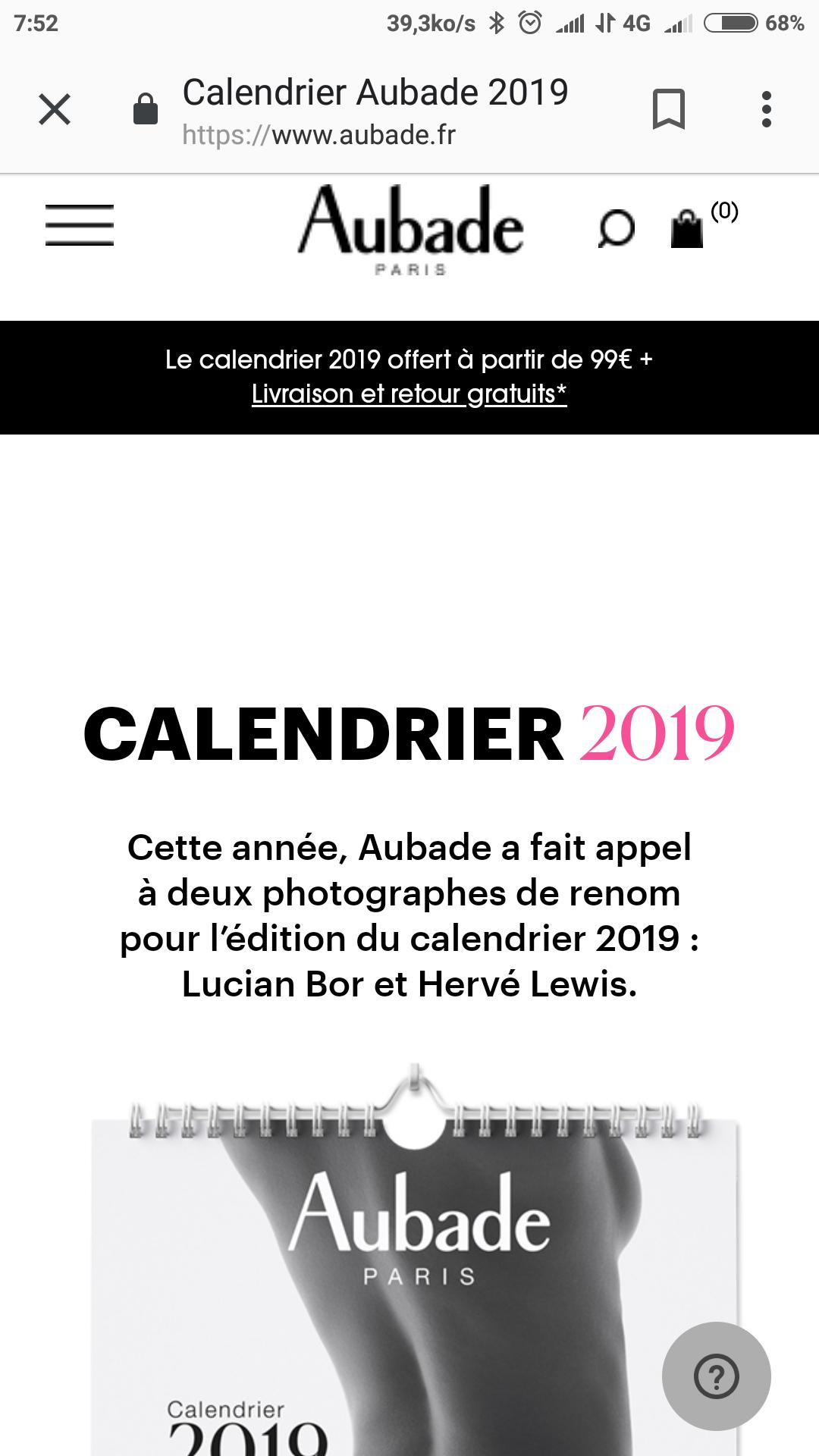 Calendrier Aubade 2019 gratuit à partir de 99€ d'achat + FDP et retours gratuit