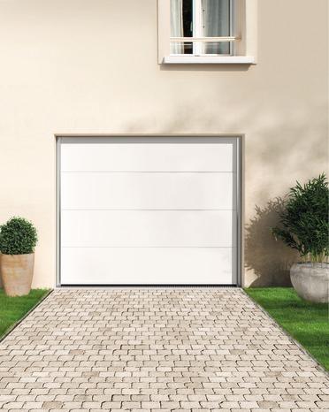 Porte De Garage Sectionnelle - Blanche ou Grise - Dim. H. 200 x L. 300 cm