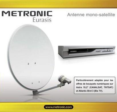 Kit Parabole Metronic Eurasis (60cm) +  LNB universel + Décodeur