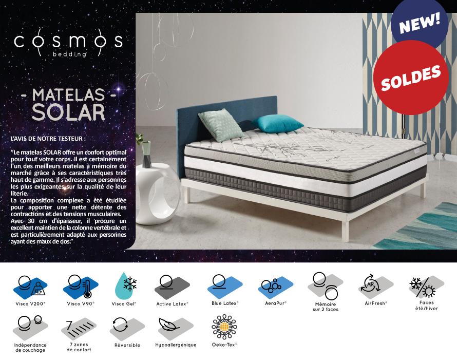 Matelas Solar Cosmos 140X190 cm - Mémoire de forme 30 cm