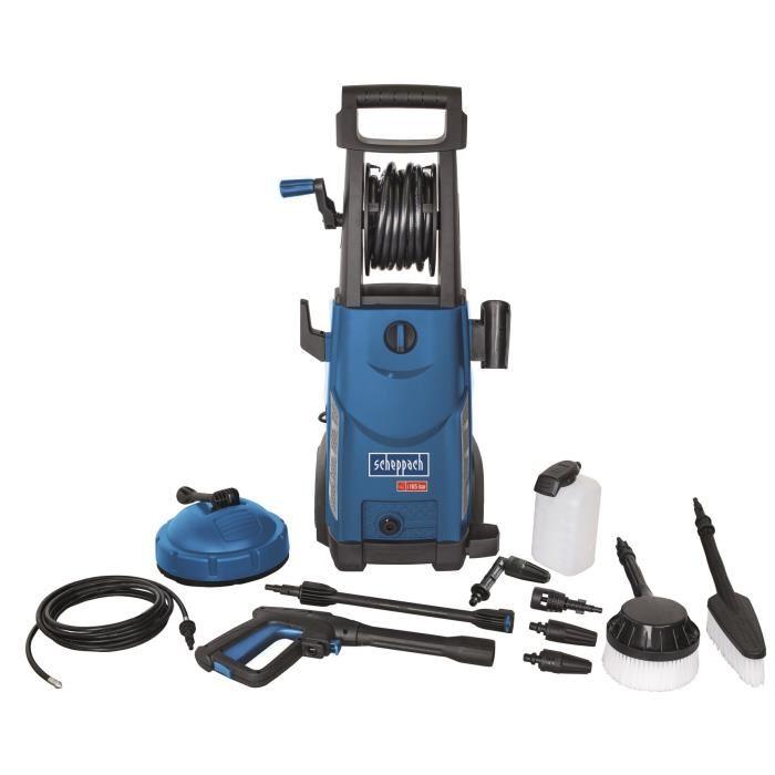 Nettoyeur haute pression Scheppach tout équipé 165 bars 2200 W + kit 11 accessoires HCE2200