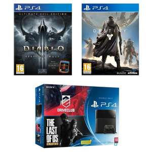 Pack PS4 500 Go Noire + Drive Club + The Last of Us Remastered + Diablo 3 Ultimate Evil Edition + Destiny