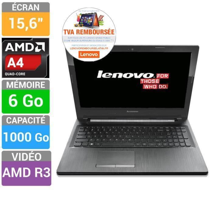 """PC portable 15.6"""" Lenovo G50-45 - AMD A6 6310, 6 Go RAM, 1 To (Via ODR)"""