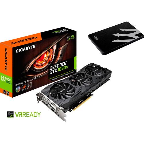 Carte graphique Gigabyte GeForce GTX 1080 Ti Gaming OC Black, 11 Go + SSD 120 Go (643,91€ avec BLACKFRIDAY)