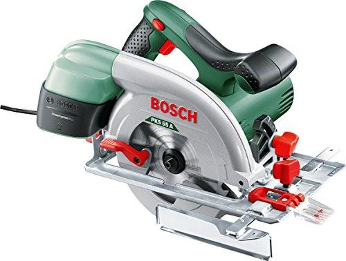 Scie Circulaire Bosch PKS 55 A + Boitier récupérateur de poussières - 1200 W