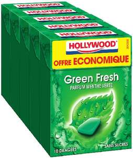 Lot de 5 paquerts de Chewing Gum Hollywood Green Fresh - 70g