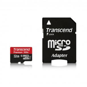 Carte microSDHC Transcend Premium 300x 32 Go Classe 10 avec adaptateur