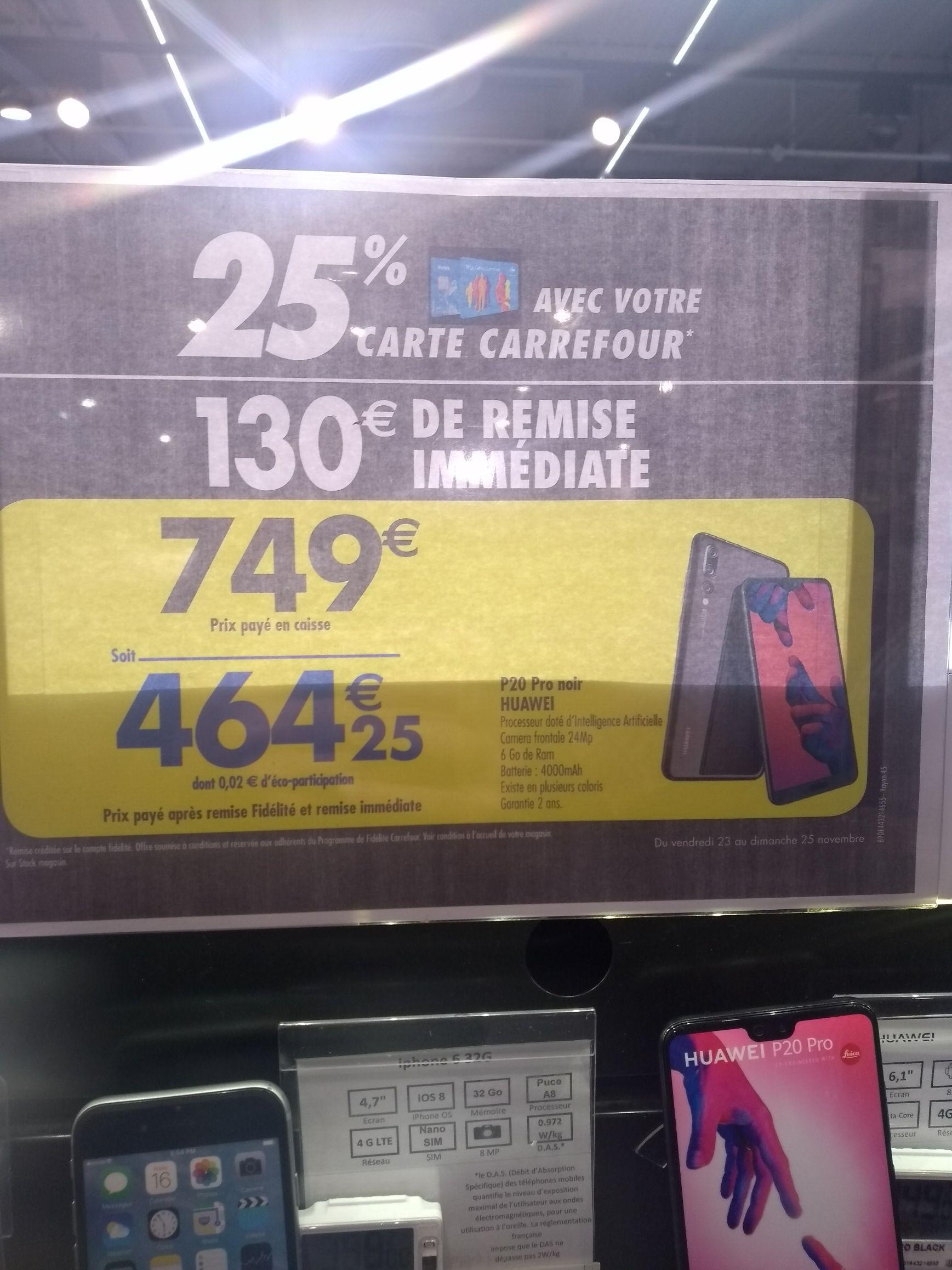 Smartphone Huawei P20 Pro (remise fidélité incluse)