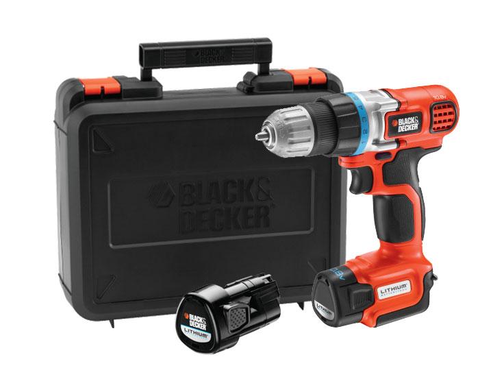 Perceuse sans fil Black & Decker 10,8 V Ultra-Compact EGBL108KB - Livrée avec 2 batteries