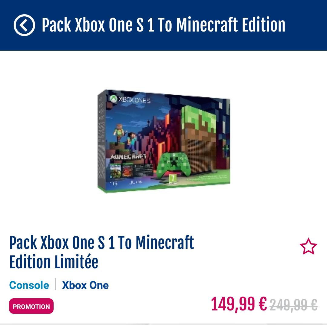 Console XBOX One S 1 To Minecraft Edition (Dans une sélection de magasins - via l'application)
