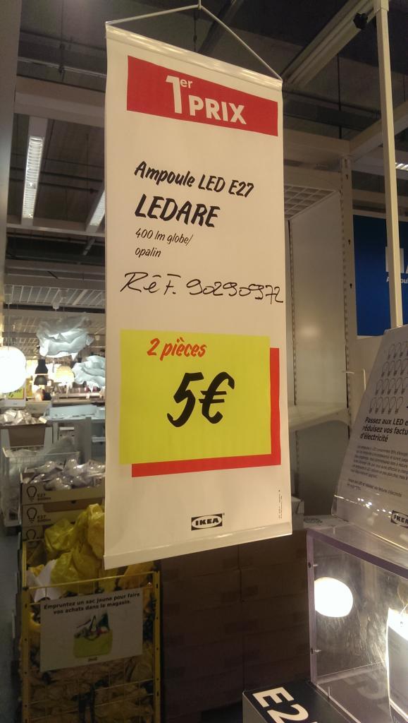 Lot de 2 Ampoules Ledare LED E27 400lm