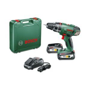 Perceuse visseuse percussion Bosch sans fil PSB 18 LI-2 + 2 batteries (via ODR 40€)