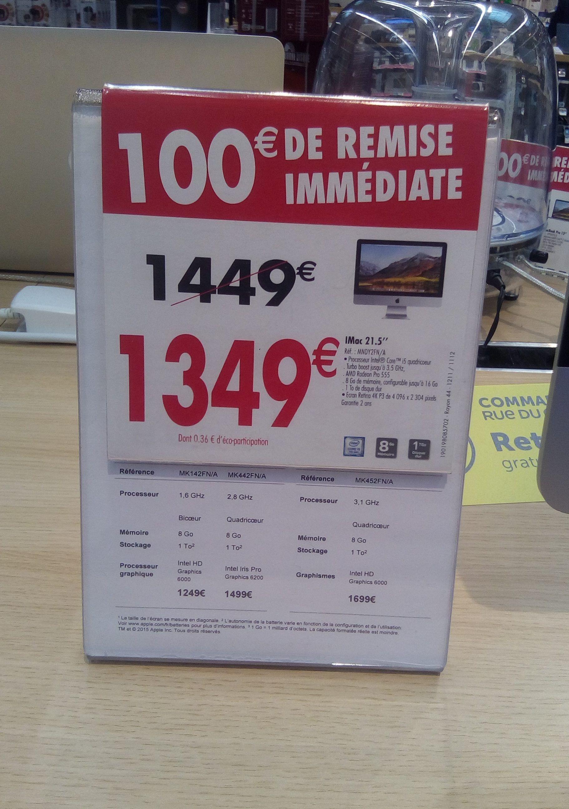 IMac 21.5 retina MNDY2FN/A (337.25 € crédité sur la carte fidélité)