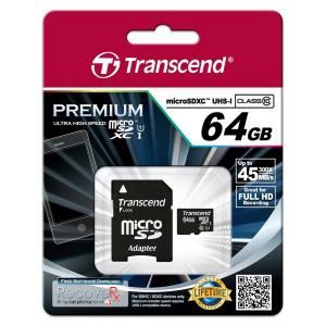 Carte Micro SDXC Transcend 64Go Premium Classe 10 45Mo/s UHS-I U1 avec adaptateur SD
