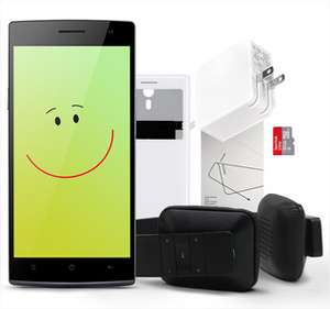 Smartphone Oppo Find 7a + casque bluetooth + flip cover + protection écran