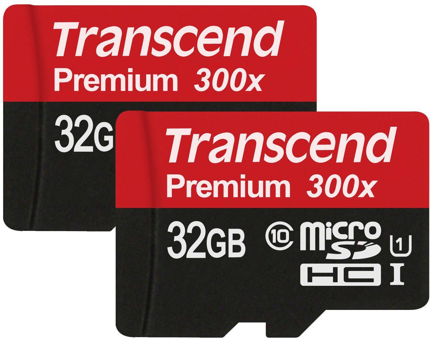 Pack de 2 cartes micro SDHC Transcend Premium 32Go Class 10 UHS-I avec adaptateur SD