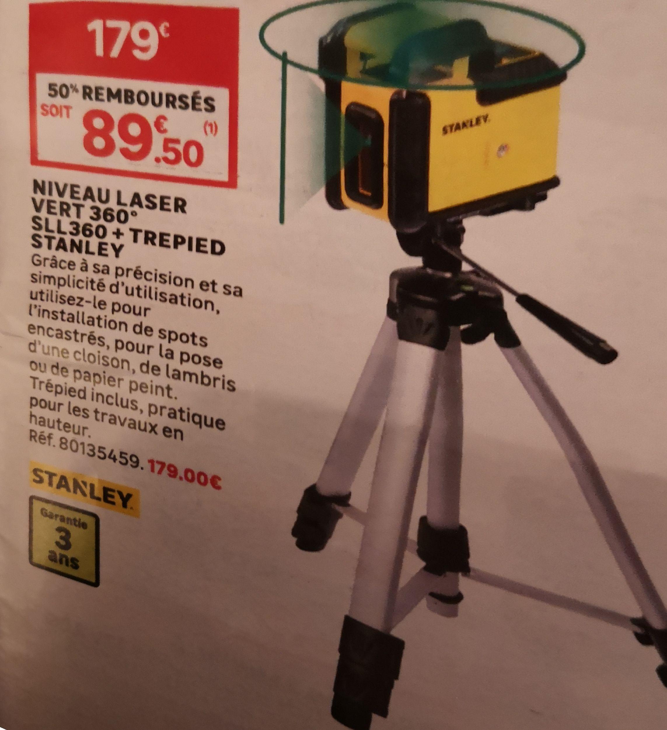 Niveau laser 360° Stanley Sll360 avec trépied (via ODR 50%)