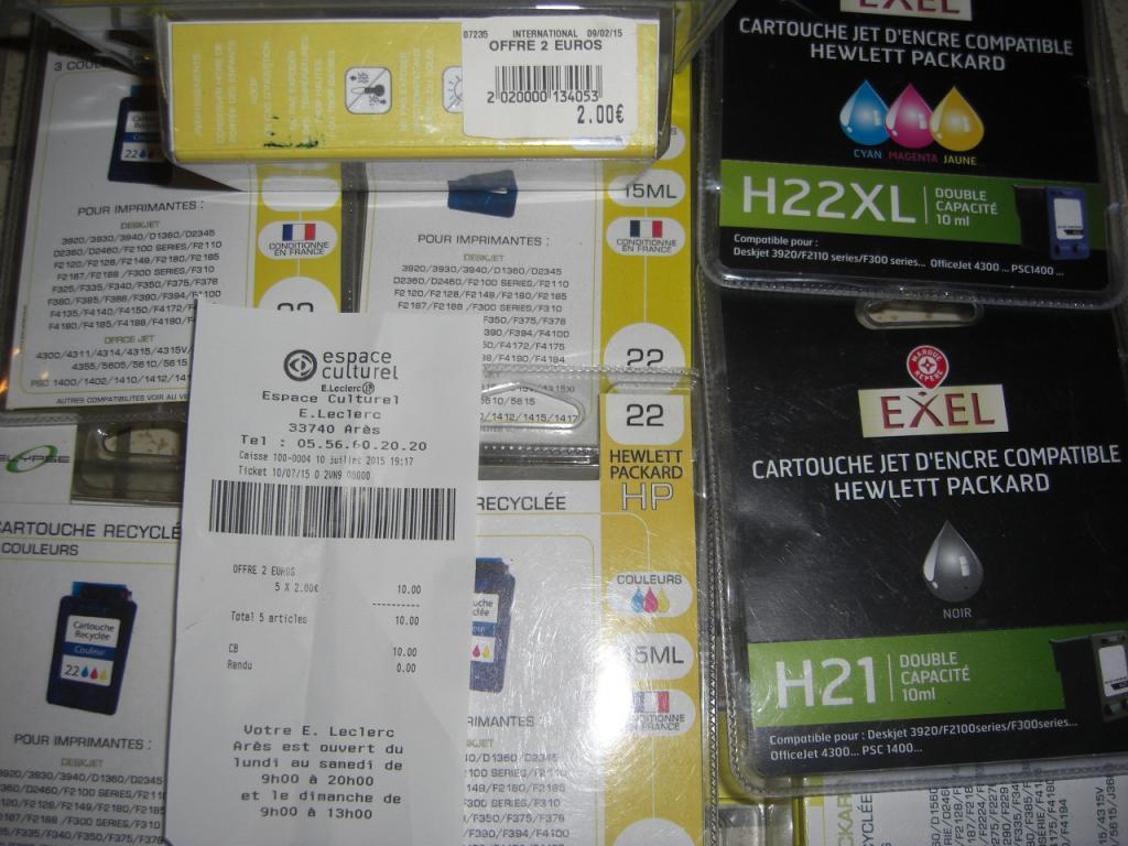 Pack de 5 Cartouches d'encre recyclées XL/XXL neuves pour imprimante