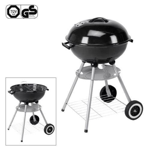 Barbecue rond sur roulette avec couvercle et plateau 46 cm