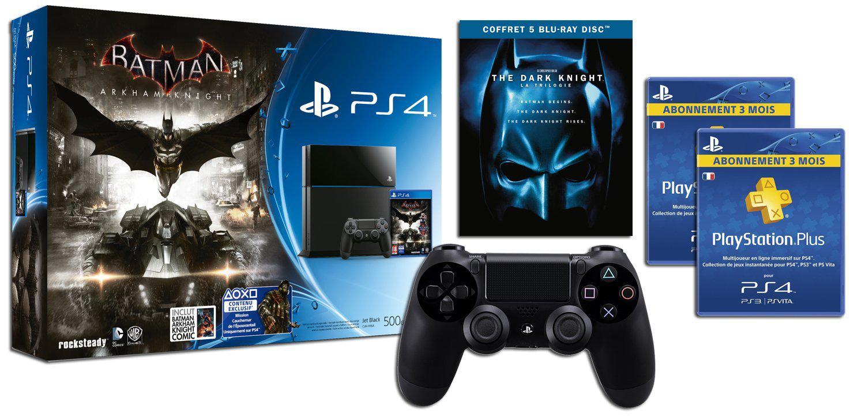 [Membres Premium] Console PlayStation 4 + Batman Arkham Knight + Deuxième manette + PS Plus 6 mois + Trilogie Blu-ray The Dark Knight + Comics