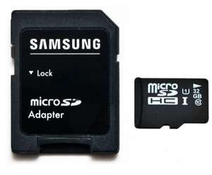 32Go Class 10 Micro SD SDHC UHS-1 Samsung Semiconductor Vitesse écriture 20MB/S lecture 80MB/S