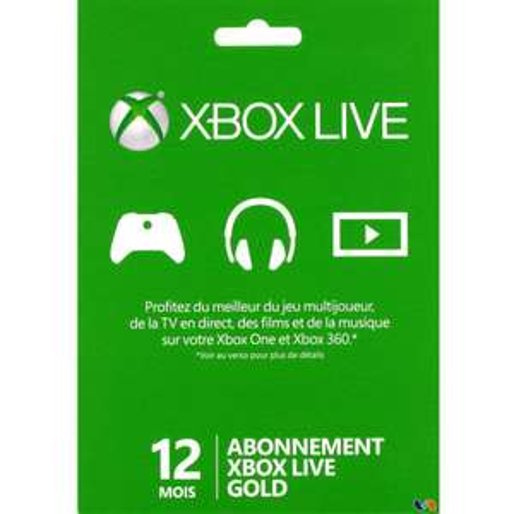 Carte Abonnement Xbox Live Gold - 12 mois