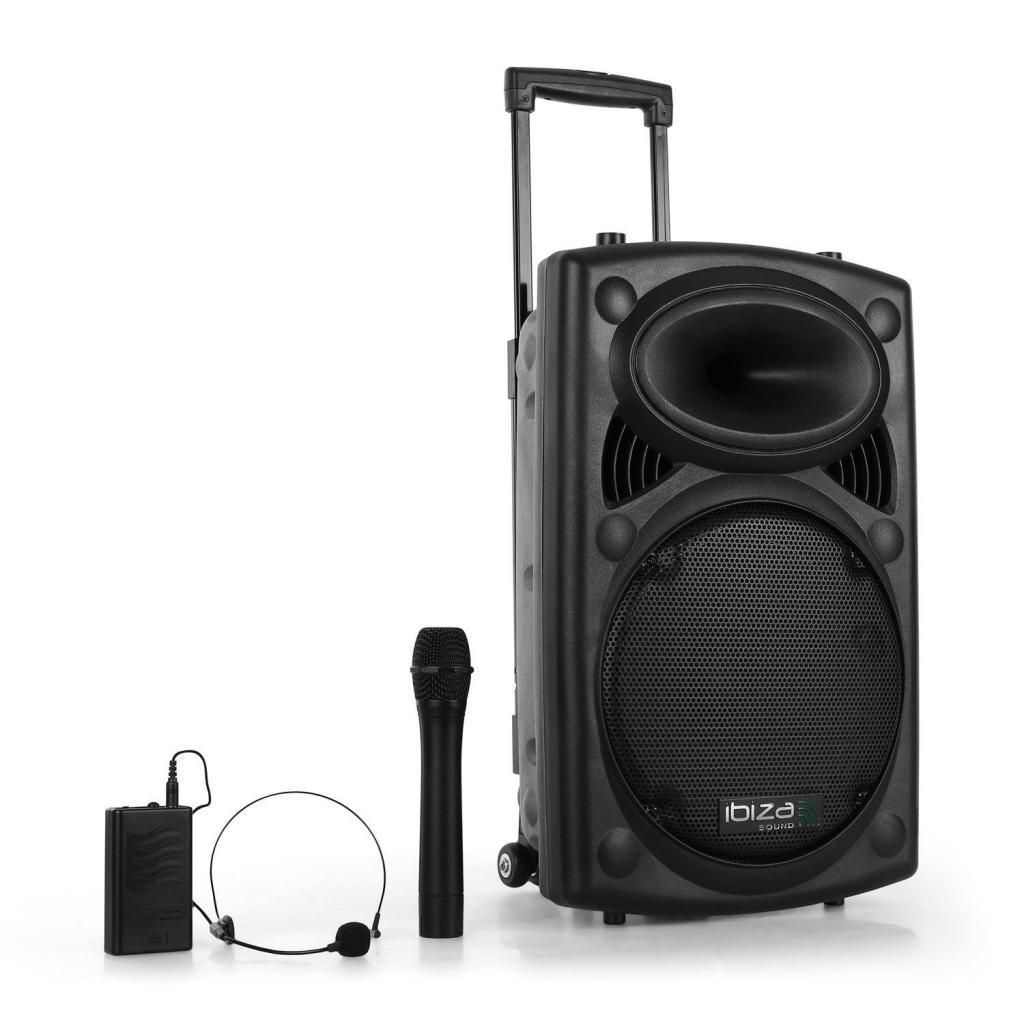 """[Membres Premium] Sonorisation portable 12"""" Ibiza PORT12VHF-BT - USB / SD / AUX / MP3 / Bluetooth Noir"""