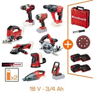 Maxi pack 9 machines Einhell 18V + Kits batteries & chargeurs 3&4 Ah Power X Change